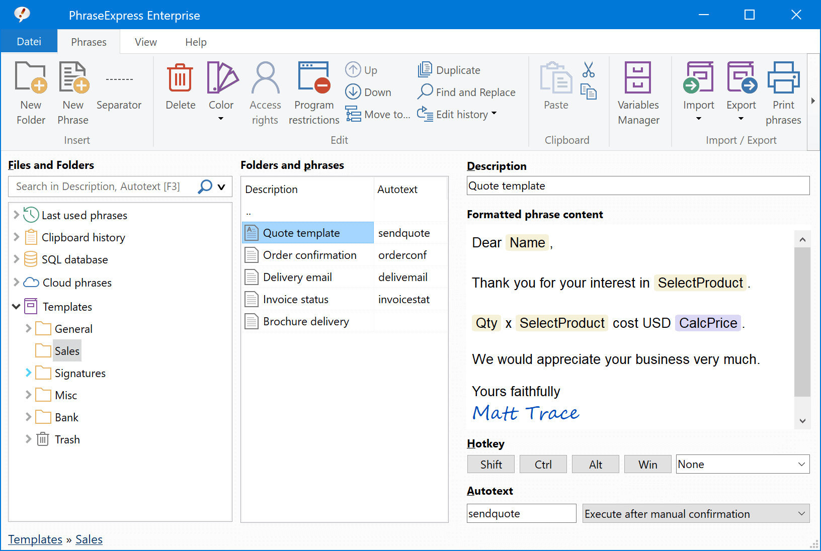 Click to view PhraseExpress Autotext 7.0.166 screenshot