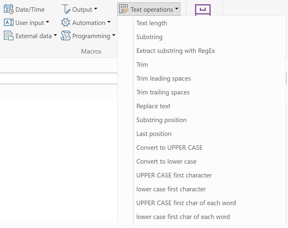Phraseexpress String Operations