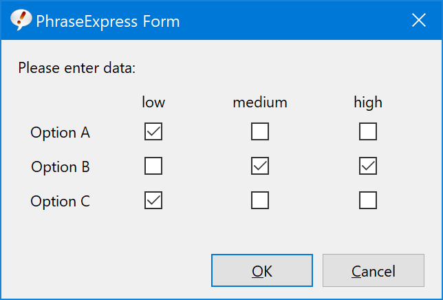 PhraseExpress - Form