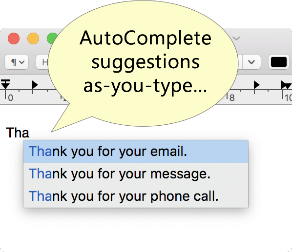 Autocomplete feature screenshot