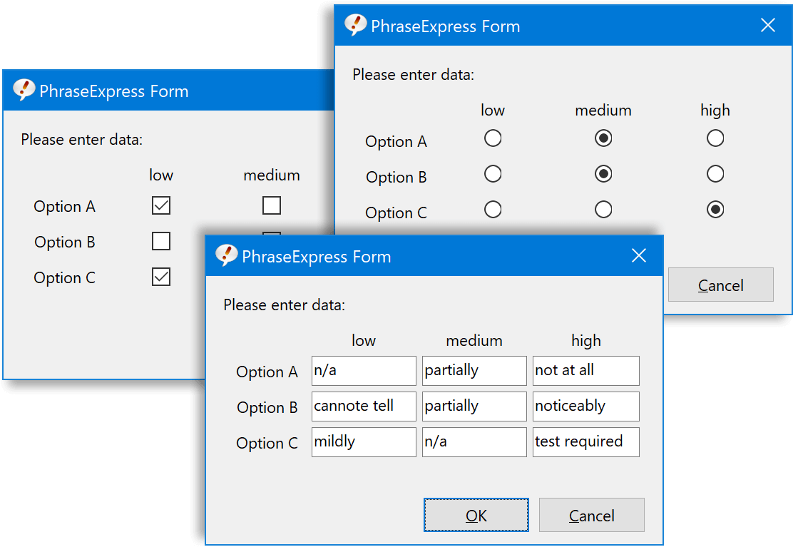 Forms can now prompt for tabular input