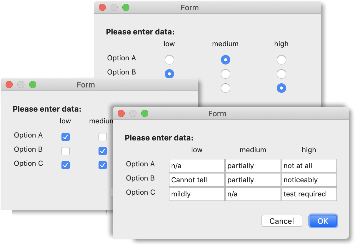 Forms now support grid input controls
