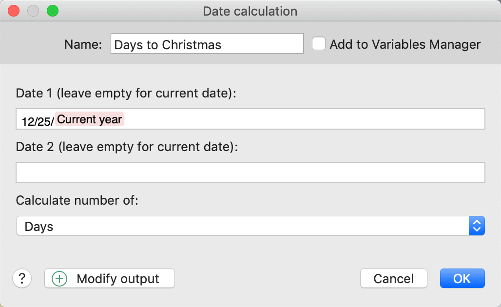 PhraseExpress can calculate the number of days, weeks, months, years or work days between two provide dates.