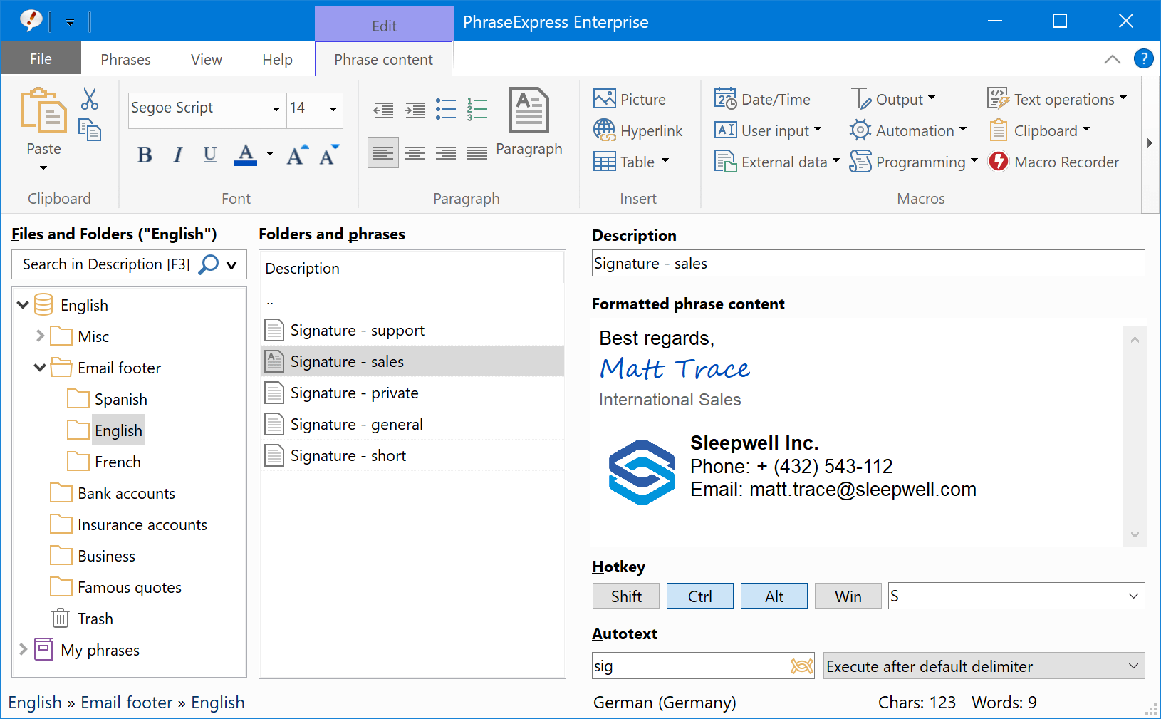 PhraseExpress main program window