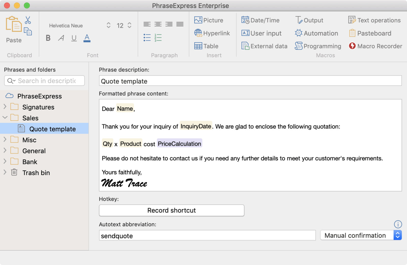 Compatible with PhraseExpress for Mac v3