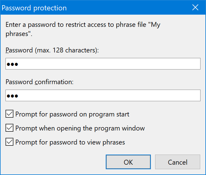Phrases can be AES encrypted with password protection